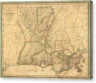 Antique Map Of Louisiana By John Melish - 1820 Canvas Print by Blue Monocle
