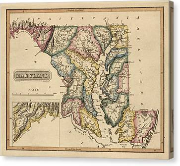 Antique Map Of Maryland By Fielding Lucas - Circa 1817 Canvas Print by Blue Monocle