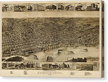 Antique Map Of Memphis Tennessee By H. Wellge - 1887 Canvas Print by Blue Monocle