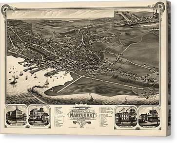 Antique Map Of Nantucket Massachusetts By J.j. Stoner - 1881 Canvas Print by Blue Monocle