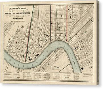 Antique Map Of New Orleans By Balduin Mollhausen - 1845 Canvas Print by Blue Monocle