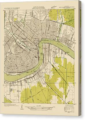 Antique Map Of New Orleans - Usgs Topographic Map - 1932 Canvas Print by Blue Monocle
