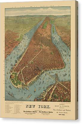 Antique Map Of New York City - 1879 Canvas Print by Blue Monocle