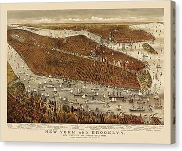 Antique Map Of New York City By Currier And Ives - Circa 1877 Canvas Print by Blue Monocle