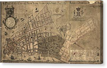 Antique Map Of New York City By Francis W. Maerschalck - Circa 1755 Canvas Print by Blue Monocle