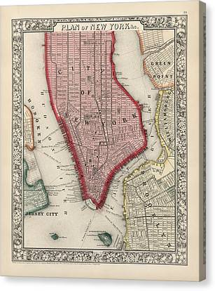 Antique Map Of New York City By Samuel Augustus Mitchell - 1863 Canvas Print by Blue Monocle