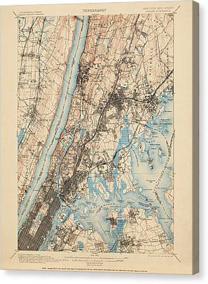Antique Map Of New York City - Usgs Topographic Map - 1900 Canvas Print by Blue Monocle