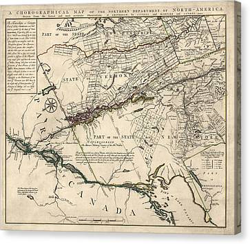 Antique Map Of New York State And Vermont By Covens Et Mortier - 1780 Canvas Print by Blue Monocle