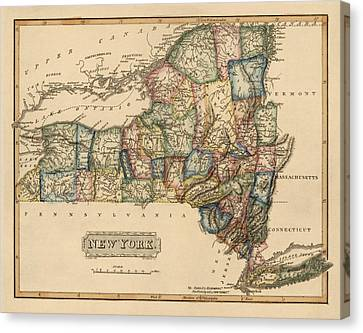 Antique Map Of New York State By Fielding Lucas - Circa 1817 Canvas Print by Blue Monocle