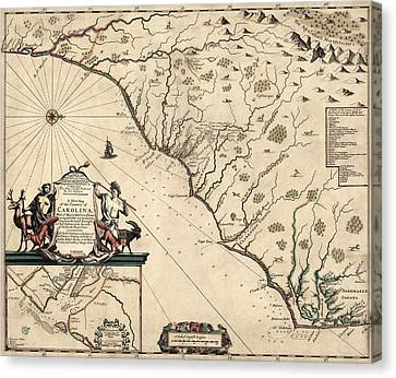 Antique Map Of North Carolina And South Carolina By Joel Gascoyne - 1682 Canvas Print by Blue Monocle