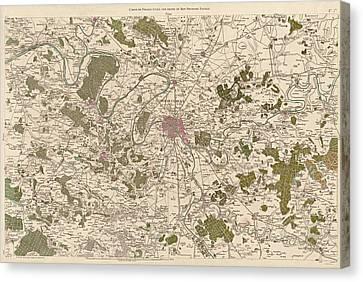 Antique Map Of Paris France By Cesar-francois Cassini - 1789 Canvas Print by Blue Monocle