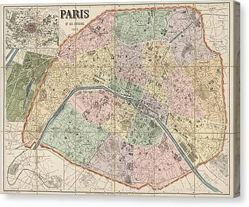 Antique Map Of Paris France By Delagrave - 1878 Canvas Print by Blue Monocle