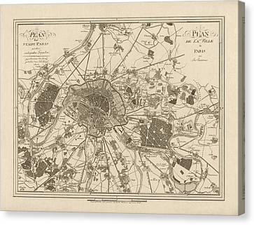 Antique Map Of Paris France By Jos. Lantz - 1805 Canvas Print by Blue Monocle