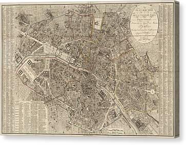 Antique Map Of Paris France By Ledoyen - 1823 Canvas Print by Blue Monocle