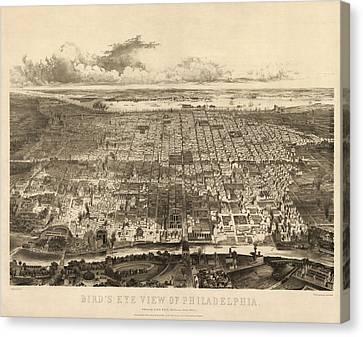Antique Map Of Philadelphia By John Bachmann - 1857 Canvas Print by Blue Monocle
