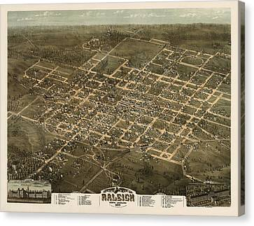 Antique Map Of Raleigh North Carolina By C. N. Drie - 1872 Canvas Print by Blue Monocle