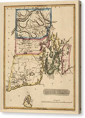 Antique Map Of Rhode Island By Fielding Lucas - Circa 1817 Canvas Print by Blue Monocle