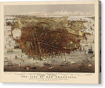 Antique Map Of San Francisco By Currier And Ives - Circa 1878 Canvas Print by Blue Monocle