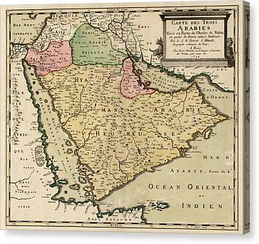 Antique Map Of Saudi Arabia And The Arabian Peninsula By Nicolas Sanson - 1654 Canvas Print by Blue Monocle