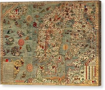 Antique Map Of Scandinavia 1539 Canvas Print by Mountain Dreams