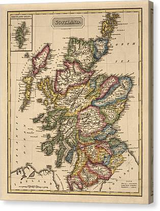 Antique Map Of Scotland By Fielding Lucas - Circa 1817 Canvas Print by Blue Monocle