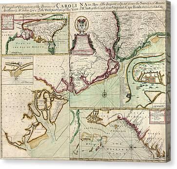 Antique Map Of South Carolina By Edward Crisp - Circa 1711 Canvas Print by Blue Monocle