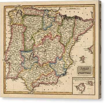 Antique Map Of Spain And Portugal By Fielding Lucas - Circa 1817 Canvas Print by Blue Monocle