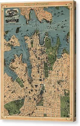 Antique Map Of Sydney Australia - 1922 Canvas Print by Blue Monocle