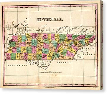 Antique Map Of Tennessee 1827 Canvas Print by Mountain Dreams