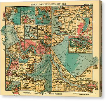 Antique Map Of The Baltic And North Sea Ports  Canvas Print by Mountain Dreams