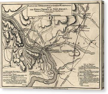 Antique Map Of The Battle Of Trenton By William Faden - 1777 Canvas Print by Blue Monocle
