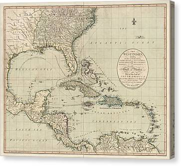 Antique Map Of The Caribbean And Central America By John Cary - 1783 Canvas Print by Blue Monocle