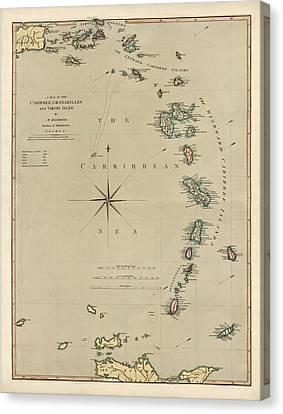 Antique Map Of The Caribbean - Lesser Antilles - By Mathew Richmond - 1789 Canvas Print by Blue Monocle