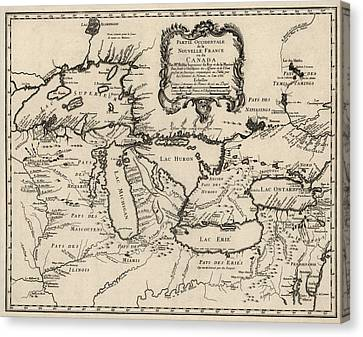 Antique Map Of The Great Lakes By Jacques Nicolas Bellin - 1755 Canvas Print by Blue Monocle