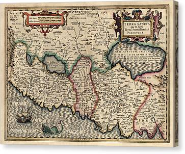 Antique Map Of The Holy Land By Guillaume Delisle - 1782 Canvas Print by Blue Monocle