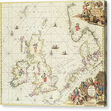 Antique Map Of The North Sea Canvas Print by Frederick de Wit