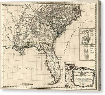 Antique Map Of The Southeastern United States By Bernard Romans - 1776 Canvas Print by Blue Monocle