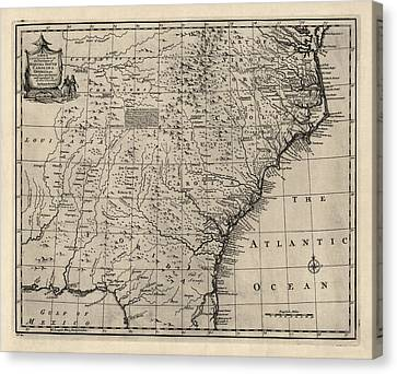 Antique Map Of The Southern American Colonies By Emanuel Bowen - 1752 Canvas Print by Blue Monocle