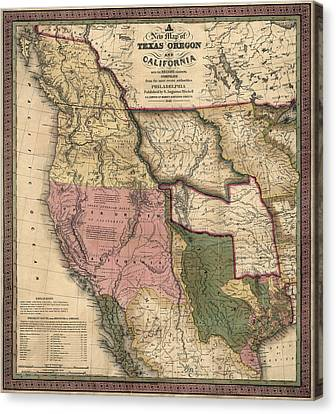 Antique Map Of The Western United States By Samuel Augustus Mitchell - 1846 Canvas Print by Blue Monocle