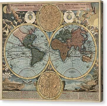 Antique Map Of The World By Johann Baptist Homann - Circa 1716 Canvas Print by Blue Monocle