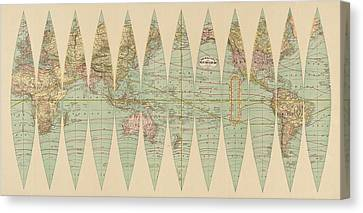 Antique Map Of The World By Rand Mcnally And Company - 1887 Canvas Print by Blue Monocle