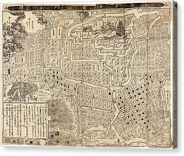Antique Map Of Tokyo Japan - 1685 Canvas Print by Blue Monocle