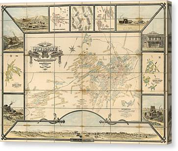 Antique Map Of Tombstone Arizona By Frank S. Ingoldsby - 1881 Canvas Print by Blue Monocle