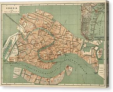Antique Map Of Venice Italy By Wagner And Debes - Circa 1886 Canvas Print by Blue Monocle