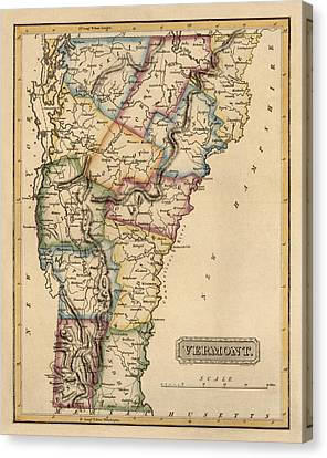 Antique Map Of Vermont By Fielding Lucas - Circa 1817 Canvas Print by Blue Monocle