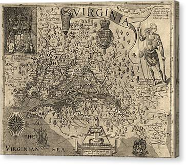 Antique Map Of Virginia And Maryland By John Smith - 1624 Canvas Print by Blue Monocle