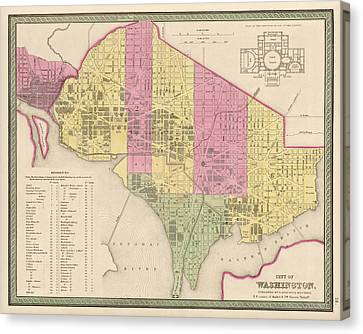 Antique Map Of Washington Dc By Samuel Augustus Mitchell - 1849 Canvas Print by Blue Monocle