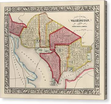 Antique Map Of Washington Dc By Samuel Augustus Mitchell - 1863 Canvas Print by Blue Monocle