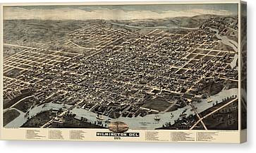 Antique Map Of Wilmington Delaware By H. H. Bailey And Co. - 1874 Canvas Print by Blue Monocle