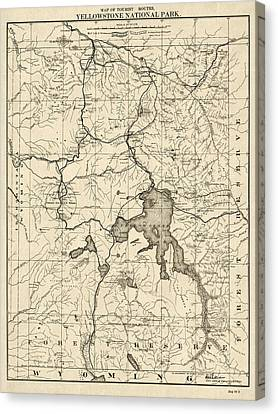 Antique Map Of Yellowstone National Park By The U. S. War Department - 1900 Canvas Print by Blue Monocle